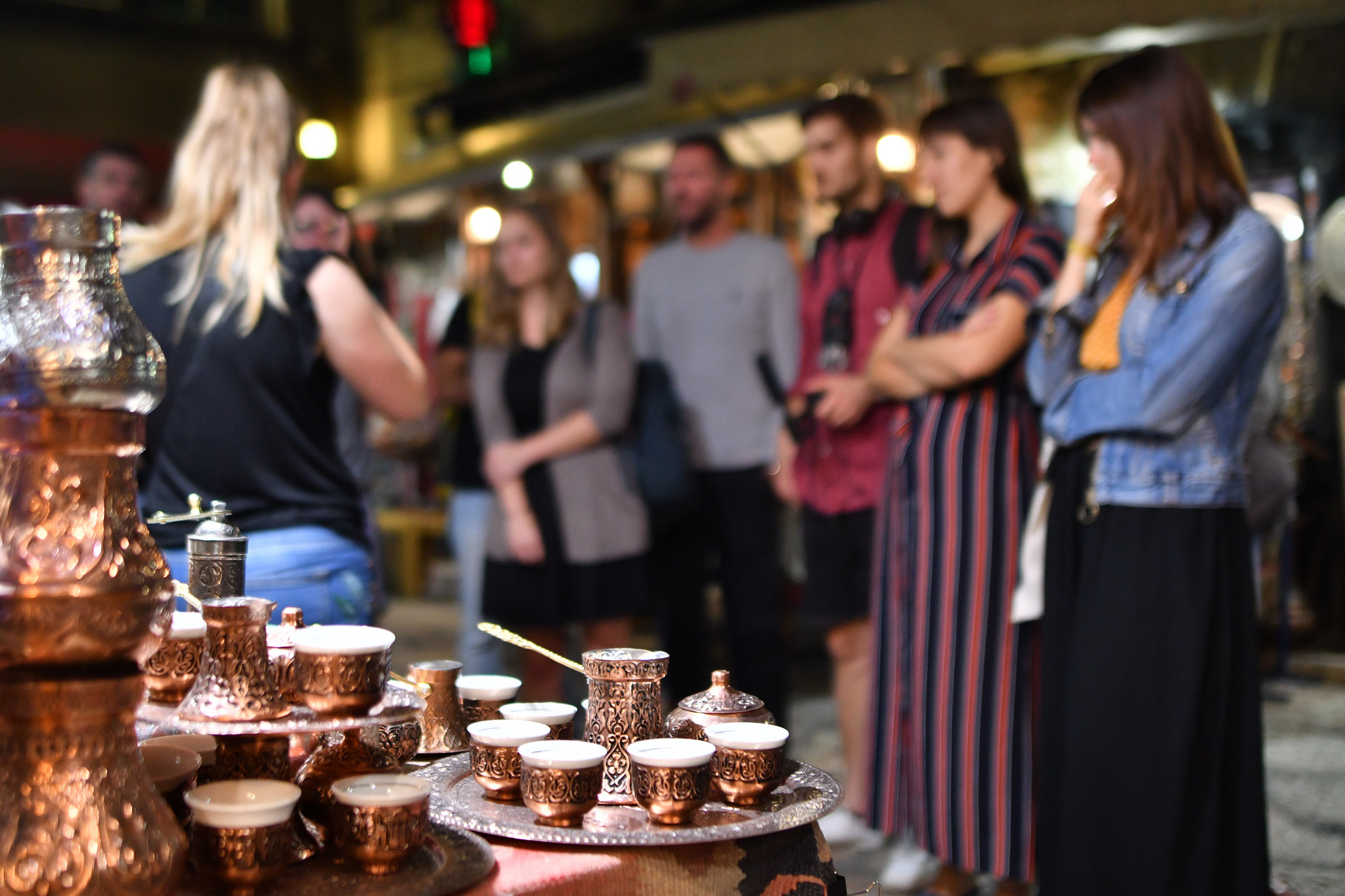 Bosnians are very, very proud of their coffee. Here, in the front, some Bosnian coffee pots (džezva) at the central market of Sarajevo. Credit: Kemal Softić/iac Berlin
